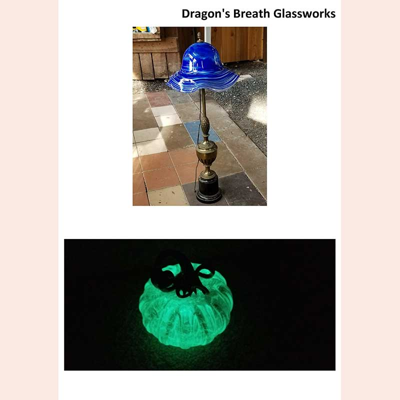 Glass lampshades by Dragon's Breath Glassworks